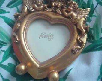 Vintage Ornate Gold Cherub Heart Shaped Photo Frame