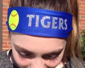 "Personalized Softball Tieback Moisture Wicking Sports Headband 2.5"" Wide"