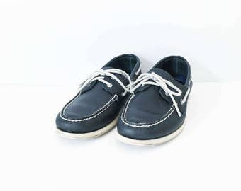 Sperry Top Sider leather shoes size 12M - Navy leather boat shoe - Nautical boat shoe - Men's Sperry deck shoes - Top siders