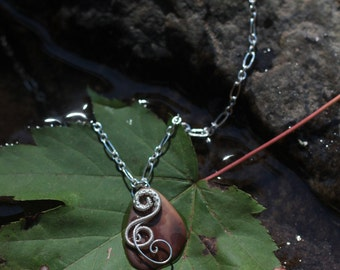 Silver wire wrapped bone pendant and necklace