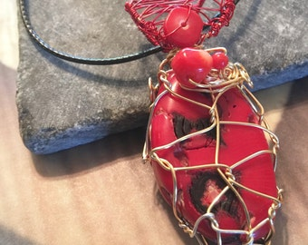 Red & Gold Wire Wrapped Red Coral pendant