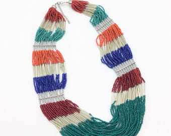 Vintage Multi-Strand Beaded Necklace in Orange, Blue, Red & Green