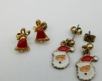 Two Pairs of Vintage Holiday Earrings - Santa and Christmas Bells