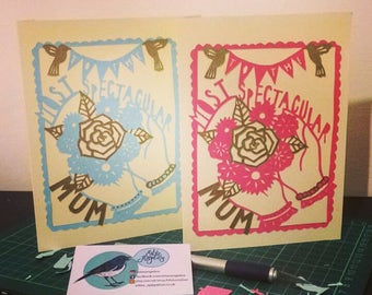 Handmade Papercut Mother's Day Card A5