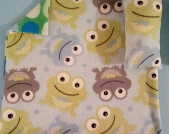 """Handmade Blanket 20"""" x 20"""" and pillow for Small or Medium Dog or cute frog Prt"""