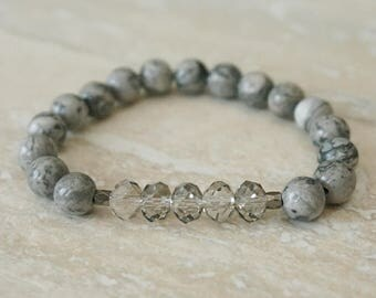 Ready to ship, sale, Jasper bracelet, Silver crystal jewelry