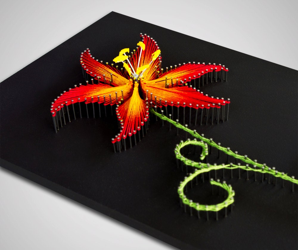 String Art: String Art The Fire Lily String Art Flower Red