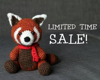 Aka the RED PANDA Crochet stuffie with Festive Red Scarf or Bowtie - Giant Amigurumi size Available!