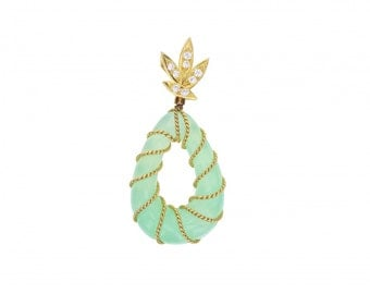 Jade Diamond and 18ct Yellow Gold Vintage Drop Shaped Pedant