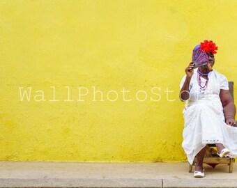 Cuba Photography, Cuban Lady with a Fan and Cigar, Woman Portrait, Havana Photography, Cuba Print Art, Fine Art Photography, Wall Art