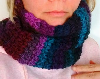 Crochet neck warmer woolen cowl knitted scarf adults circle infinity loose loop scarf star jasmine stitch design amazing shade MADE TO ORDER