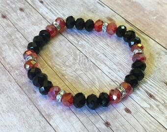 Sparkling Black and Red stretch bracelet, gift for her
