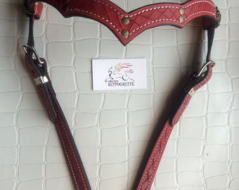 Medieval Red bridle headstall flange medieval Red