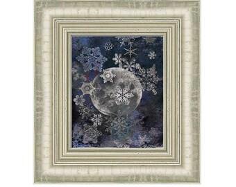 Night Sky Snowflakes Full Moon Art Decorative home decor holiday  wall art Digital print pigment print Original Collage