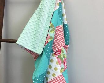 Floral patchwork baby quilt, pink floral quilt, floral quilt, mint and gold, mint minky, soft floral blanket, cuddly quilt, gold polka dots