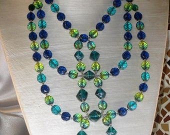 triple Necklace: glass of green and blue Bohemian
