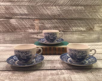 Royal Warwick Loch Ness Tea Cups and Saucers, Royal Warwick Cups and Saucers, Blue and White China, English China, Made in England