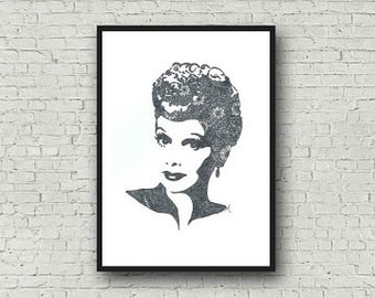 Lucille Ball I Love Lucy Zentangle A4 Art Print