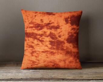 Housewarming Gift   Burnt Orange Velvet Cushion   Silk Velvet Throw Pillow   Plush Designer Pillow