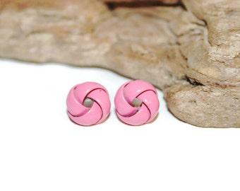 Hot Pink Earrings, Hot Pink Knot Earrings, Lucky Knot Earrings, Retro Jewelry, Hot Pink Jewelry, Hot Pink Studs, Fuchsia Earrings, Neon Pink