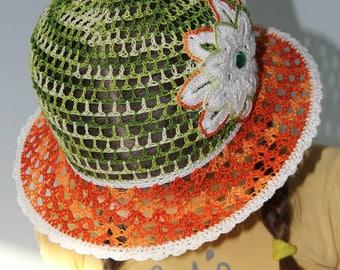 Summer hat Beach hat Crochet girl hat Baby summer beanie with brim Suns hats orange green white Girls sun hat Baby summer beanie