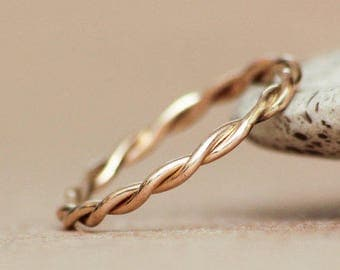 Size 4.5 - Hand Forged Twisted Wedding Band 14 K Yellow Gold - Narrow Wire Stacking Wedding Band - Twisted Wire Accent Band - Ready to Ship