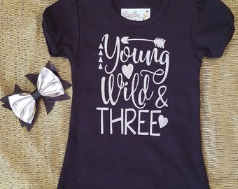 Young, Wild, and Three Puff Sleeve Shirt with Matching Bow - Silver Glitter Vinyl on Black Material