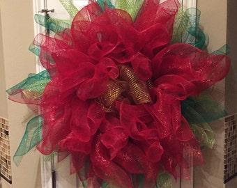 BIG Poinsettia Wreath