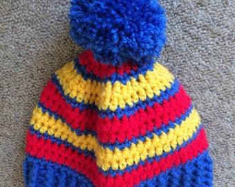 Colourful handmade crochet bobble hat, hand crocheted beanie hat