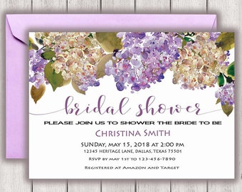 Floral Bridal Shower Invitation Purple Bridal Shower Invite, Bridal Shower Invitation, Hydrangea, Watercolor Bridal Shower Invitation, Boho