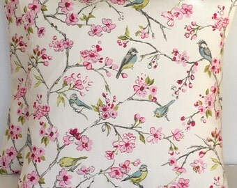 2 x Clarke & Clarke birdies in pink cushion covers