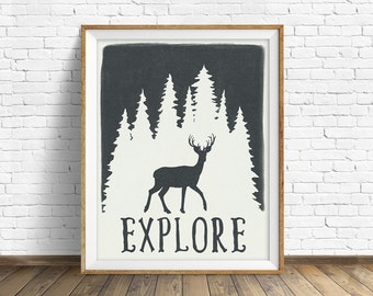 "wall art prints, instant download, printable art, deer, forest, trees, poster, quote art, quote prints, modern, farmhouse, art - ""Explore"""
