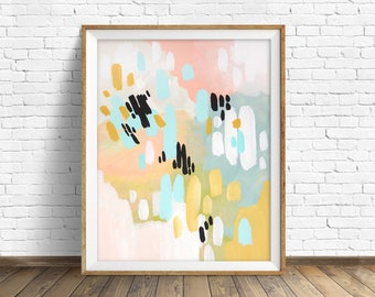 "colorful abstract wall art, large abstract wall art, pastel colors, abstract painting, instant download printable art - ""Deep in My Heart"""