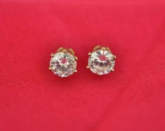 CZ Earrings, Gold Tone, Pierced Earrings, Cubic Zirconia Earrings, Clear Stud Earrings, Small Earrings, April Birthstone Earrings, GS888