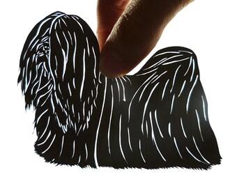 Original Lhasa Apso Framed Paper Cutting, Scherenschnitte, Pet Portrait, OOAK Art
