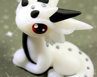 Handmade Polymer Clay Kawaii White Dragon Red Eyes