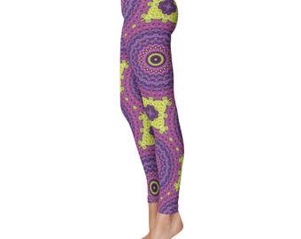 Funky Leggings - Wild Leggings, Fun Hippie Yoga Pants Pink Purple Yellow Mandala Art Leggings Tights