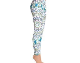 Mid Rise Yoga Wear Leggings - Printed Yoga Pants, Unique Mandala Tights, Ocean Blue and Sea Green Boho Beach Leggings