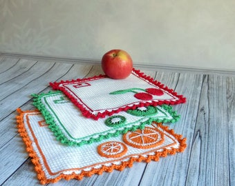 Decorative doily Crochet coasters Crochet fruit Doily tablecloth Crochet home decor Rustic doilies Gift for mom Housewarming gift