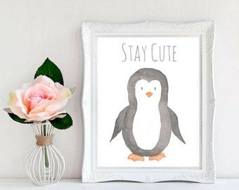 Penguin Wall Art, Nursery Wall Art, Nursery Wall Decor, Watercolor Penguin, Kids Wall Art, Penguin Nursery Art, Baby Penguin Print