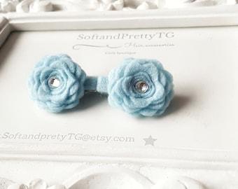 Sky blue felt hair clips. Flower hair clip for baby. Girl hair clips. Newborn hair clips. Many colours to choose.