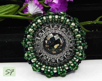 Silver green beadwork brooch embroidered beads pearls and Swarovski crystals, Beaded brooch, Button jewelry, Embroidery brooch jewelry, Gift