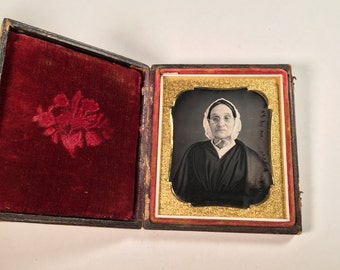 Early Daguerreotype of an Older Woman Wearing Glasses and a Bonnet, 19th Century Antique Photo in Full Case