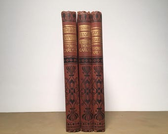 Antique Thomas Carlyle Book Set, Three (3) 19th Century Decoratively Bound Books, Antique Book Set