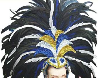 Supreme Samba Showgirl Headdress - Feather Samba Headdress, Showgirl Headdress, Vegas Headdress, Federkopfschmuck, Coiffe Plume