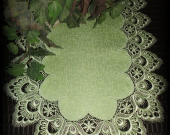 """70"""" Delicate Soft Green Lace Dresser Scarf Table Runner Doily"""