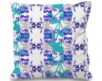 Turquoise floral cushion cover