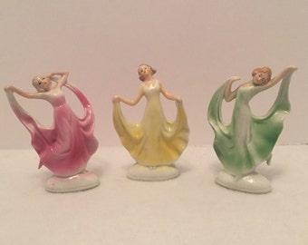 Vintage Set of 3 Porcelain Dancing Ladies