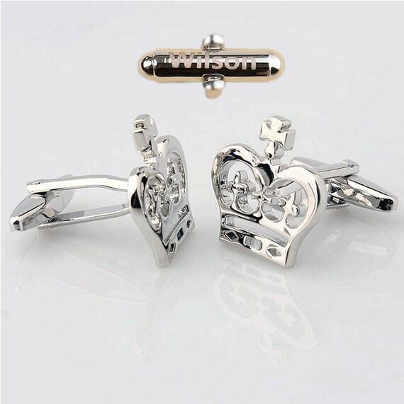 PersonalizedCustomCufflinks,Silver Cufflinks, Large Crown Cufflinks, Crown, Queen, Cuff Links, Victorian Inspired,wedding gift,Gift For