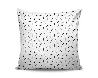Confetti Pillow, Black White Pillow Cover, Monochrome Nursery Throw Pillow, Scandinavian Style, Minimalist, Housewarming Gift, Gift for Mom